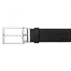 MONTBLANC Cintura con fibbia ad ardiglione quadrata finitura palladio lucida