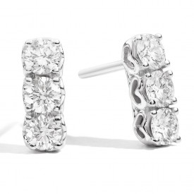 Orecchini trilogy Anniversary, oro bianco 18 kt e diamante 100