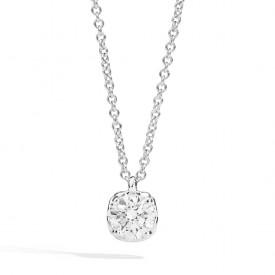 Collana punto luce in oro bianco 18 Kt e diamante taglio brillante 45 cm 0,10